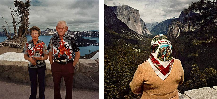 Couple with Matching Shirts, Crater Lake National Park, Ore. 1980 (l) Woman with Scarf at Inspiration Point, Yosemite National Park, Calif. 1980