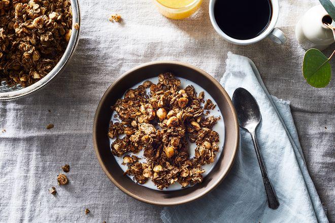 Granola in yogurt or milk.