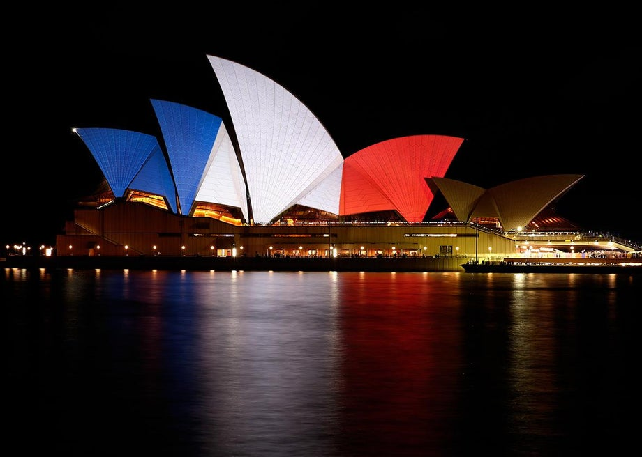 Sydney Opera House after the Paris attacks.