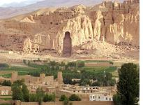 The former home of the 175-foot Bamiyan Buddha at sunrise