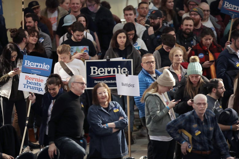 Iowa residents attend a caucus to select a Democratic nominee for president on February 03, 2020 in Des Moines, Iowa.