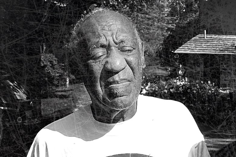 Bill Cosby is seen against a dark, woodsy black-and-white background with a shack to the right side.