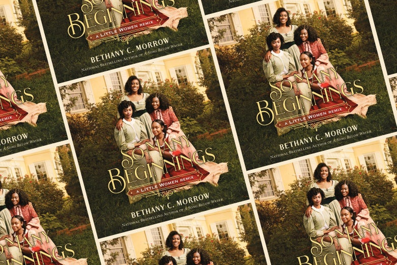 The cover of So Many Beginnings (featuring four Black women in mid-19th-century clothing) repeated over and over.