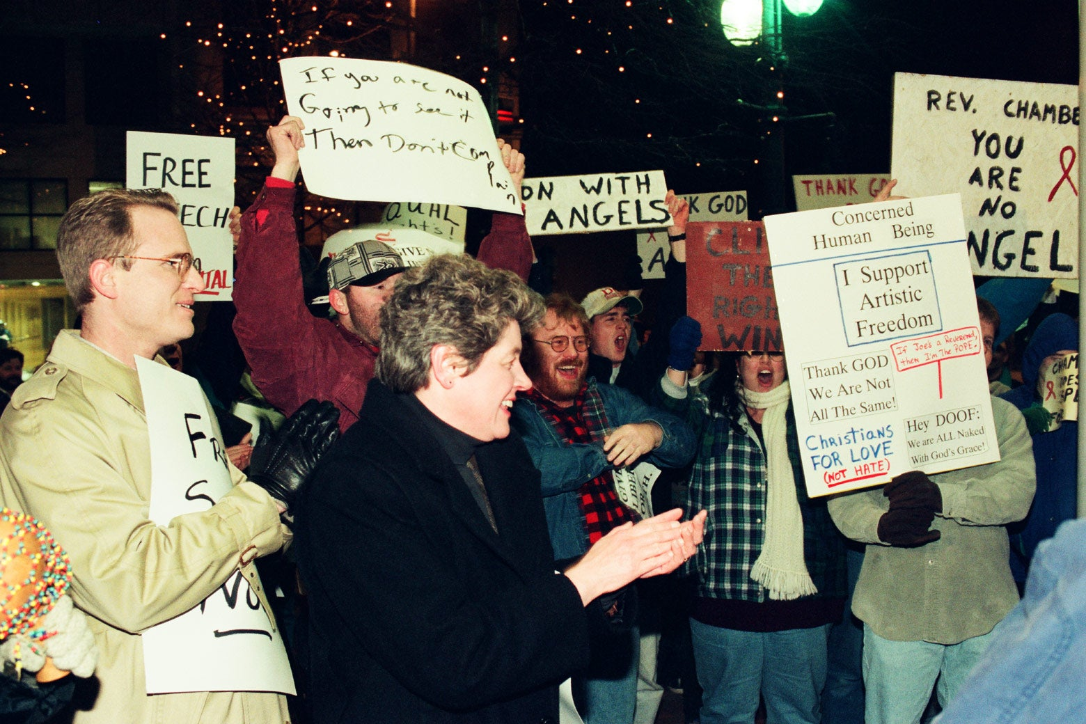 Supporters of the Charlotte Rep production counterprotest on the night of the show's first performance, March 20, 1996.