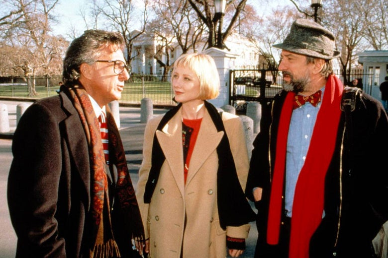Robert De Niro, Anne Heche, and Dustin Hoffman in Wag the Dog