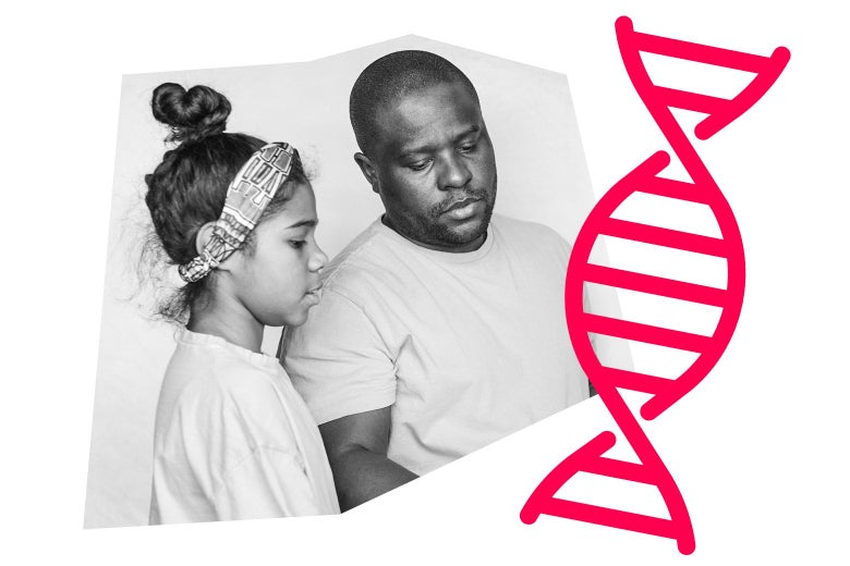 A father and daughter, and a graphic of a DNA strand.