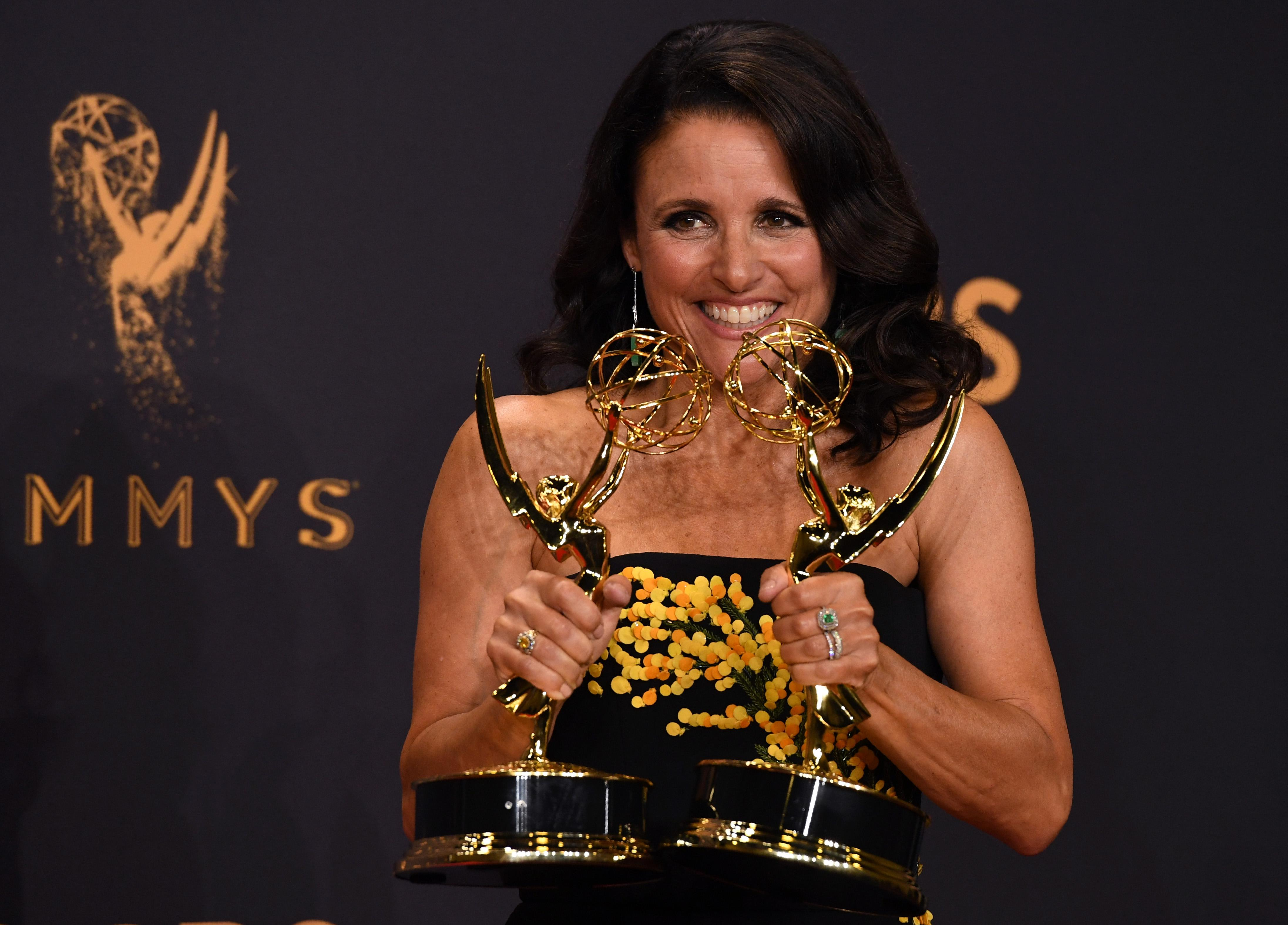 Julia Louis-Dreyfus poses with the Emmy for Outstanding Lead Actress in a Comedy Series for 'Veep' during the 69th Emmy Awards at the Microsoft Theatre on September 17, 2017 in Los Angeles, California.