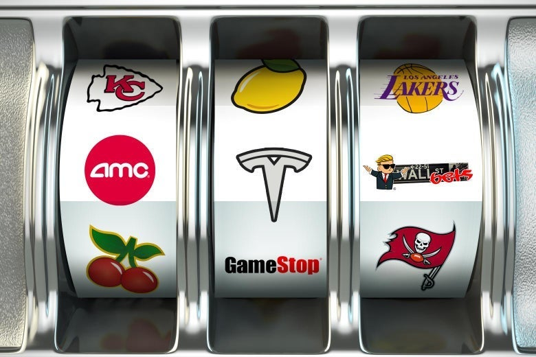 A slot machine with images of professional sports franchises and major companies.