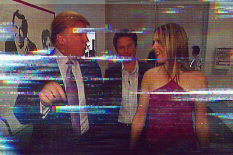 Donald Trump talks to a woman with Billy Bush behind them in the Access Hollywood tape