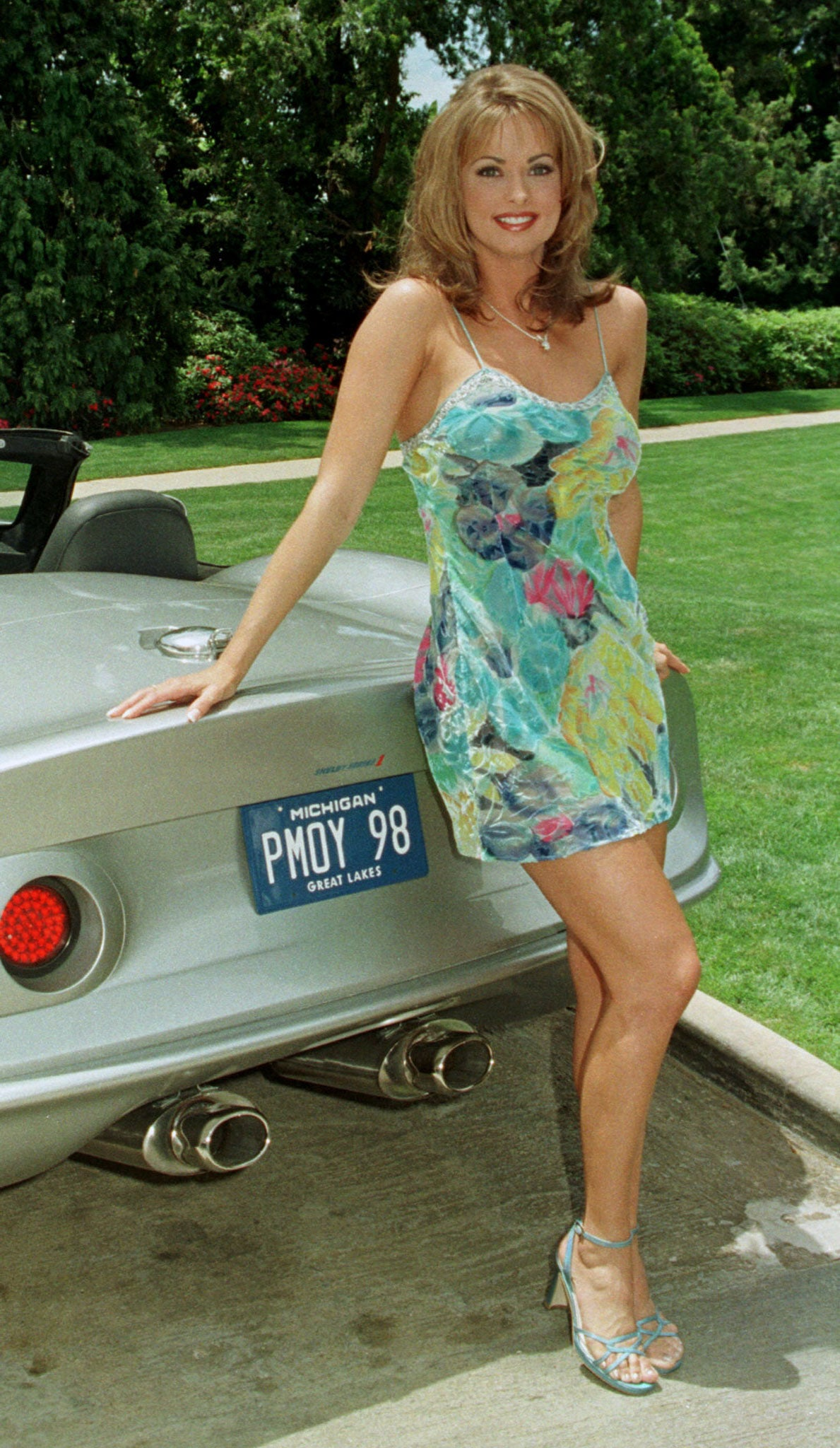 Karen McDougal at the Playboy Mansion in Beverly Hills in 1998.