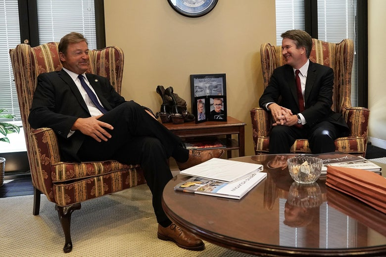 Sen. Dean Heller (L) meets with Supreme Court nominee Judge Brett Kavanaugh in his office on Capitol Hill.