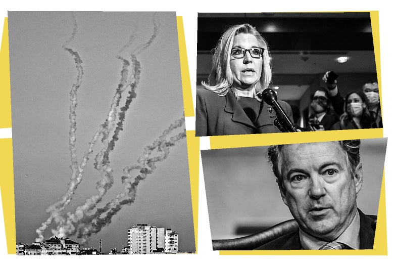 Smoke billowing into the sky from an airstrike, Liz Cheney, and Rand Paul