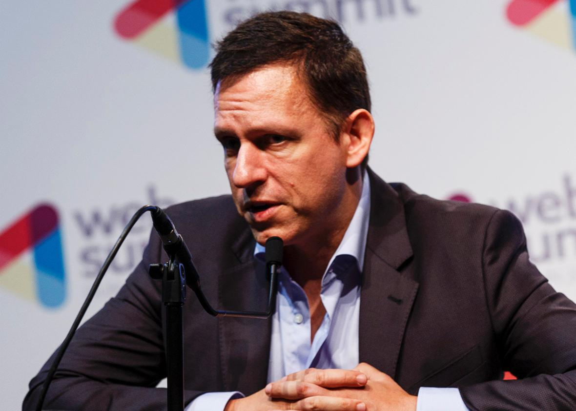 Peter Thiel, Co-Founder of PayPal attends a press conference at the 2014 Web Summit on November 6, 2014 in Dublin, Ireland.