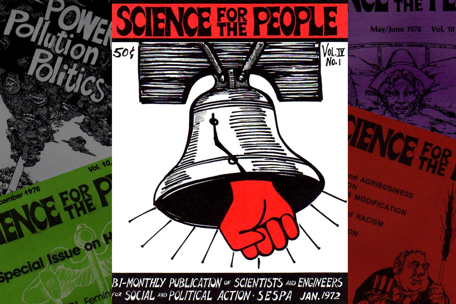 An assortment of Science For the People covers from the 1970s.