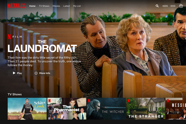 A screenshot of the Netflix homepage with a banner for The Laundromat at the top.