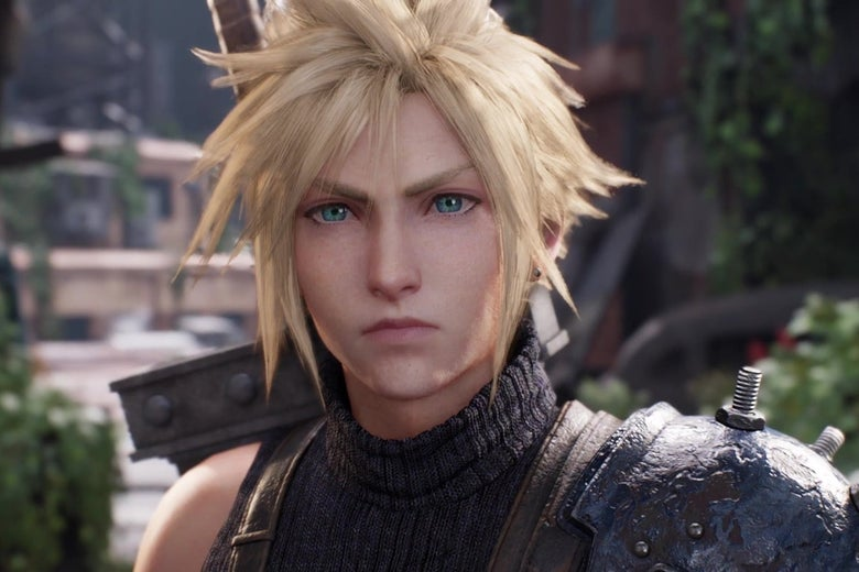 Cloud, the protagonist of Final Fantasy VII, looking into camera.