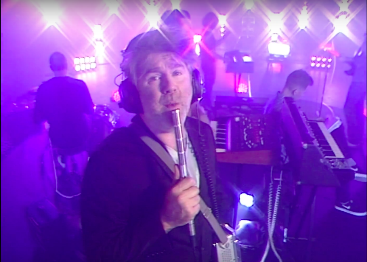 "LCD Soundsystem's James Murphy in the music video for ""Tonite."""