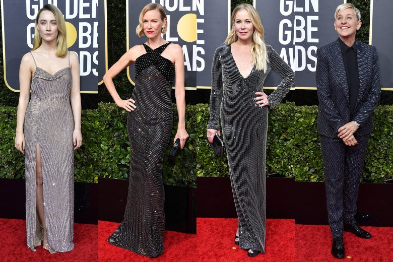Saoirse Ronan, Naomi Watts, Christina Applegate, and Ellen DeGeneres pose on the 2020 Golden Globes red carpet.