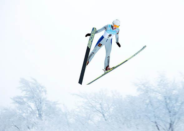 Irina Avvakumova of Russia jumps in the first round of competition during day one of the FIS Women's Ski Jumping World Cup at Zao Jump Stadium on February 9, 2013 in Yamagata, Japan.