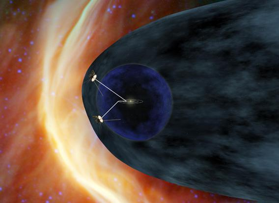 Illustration of the Voyager spacecraft posiitons, about to leave the solar system.