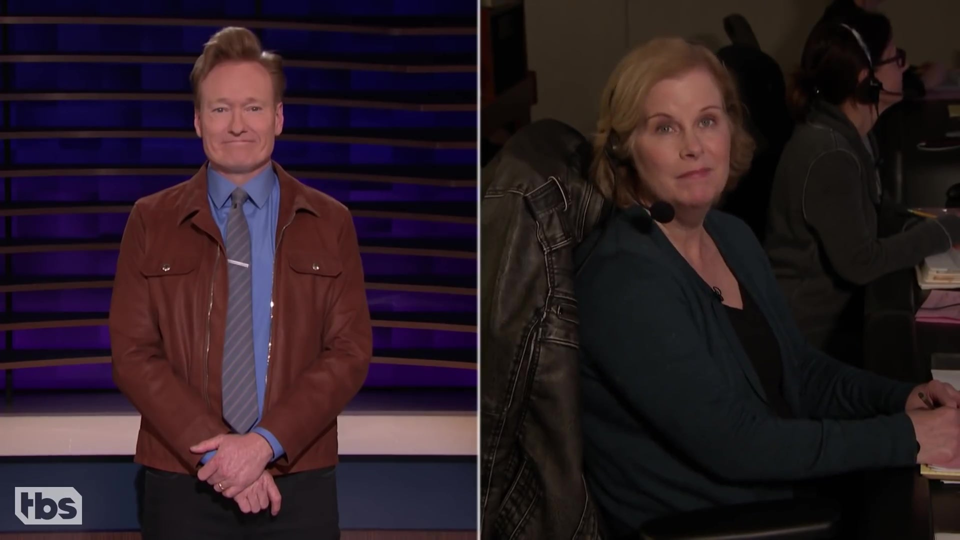 Conan O'Brien in a split screen with his show's director Billie Bollotino.