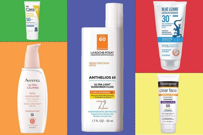 assorted sunscreens on a colored background