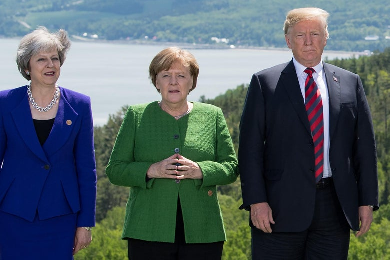 Theresa May, Angela Merkel, and Donald Trump.