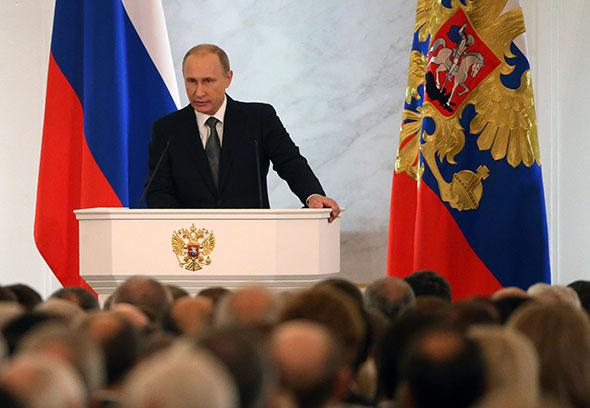 Russian President Vladimir Putin delivers his annual state of the nation address to the National Assembly in Grand Kremlin Palace on December 4, 2014 in Moscow, Russia.