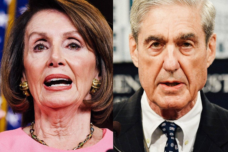 Side by side closeups of Pelosi and Mueller.