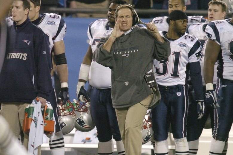 New England Patriots head coach Bill Bleichick during Super Bowl XXXIX between the Eagles and the New England Patriots  at Alltel Stadium in Jacksonville, Florida on February 6, 2005.  (Photo by Al Messerschmidt/Getty Images)