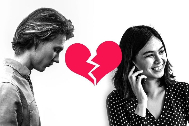 One person hangs their head while another talks on the phone and smiles. An illustration of a broken heart in the middle.