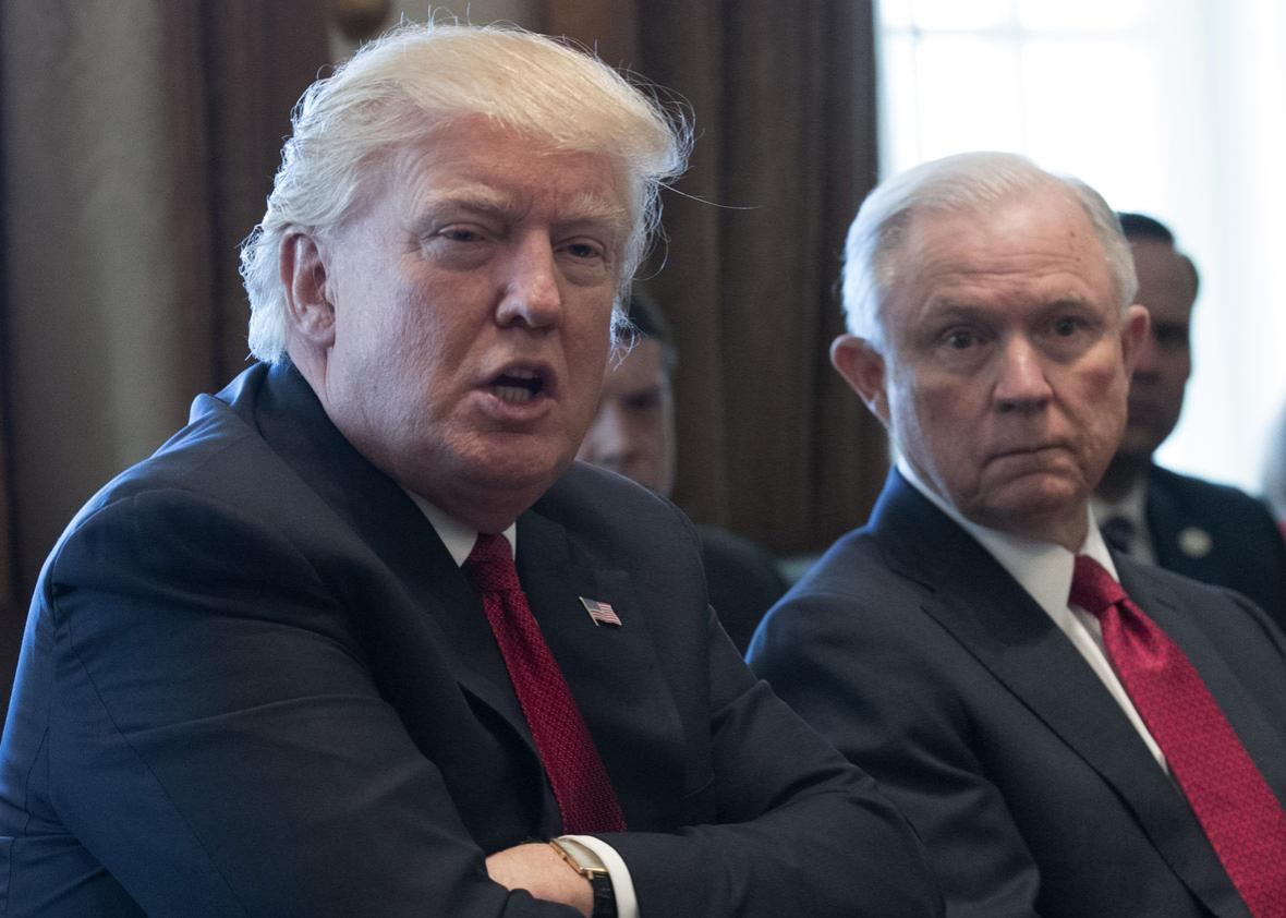 U.S. President Donald Trump with Attorney General Jeff Sessions