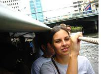 Farangs poke their heads out of the river taxi