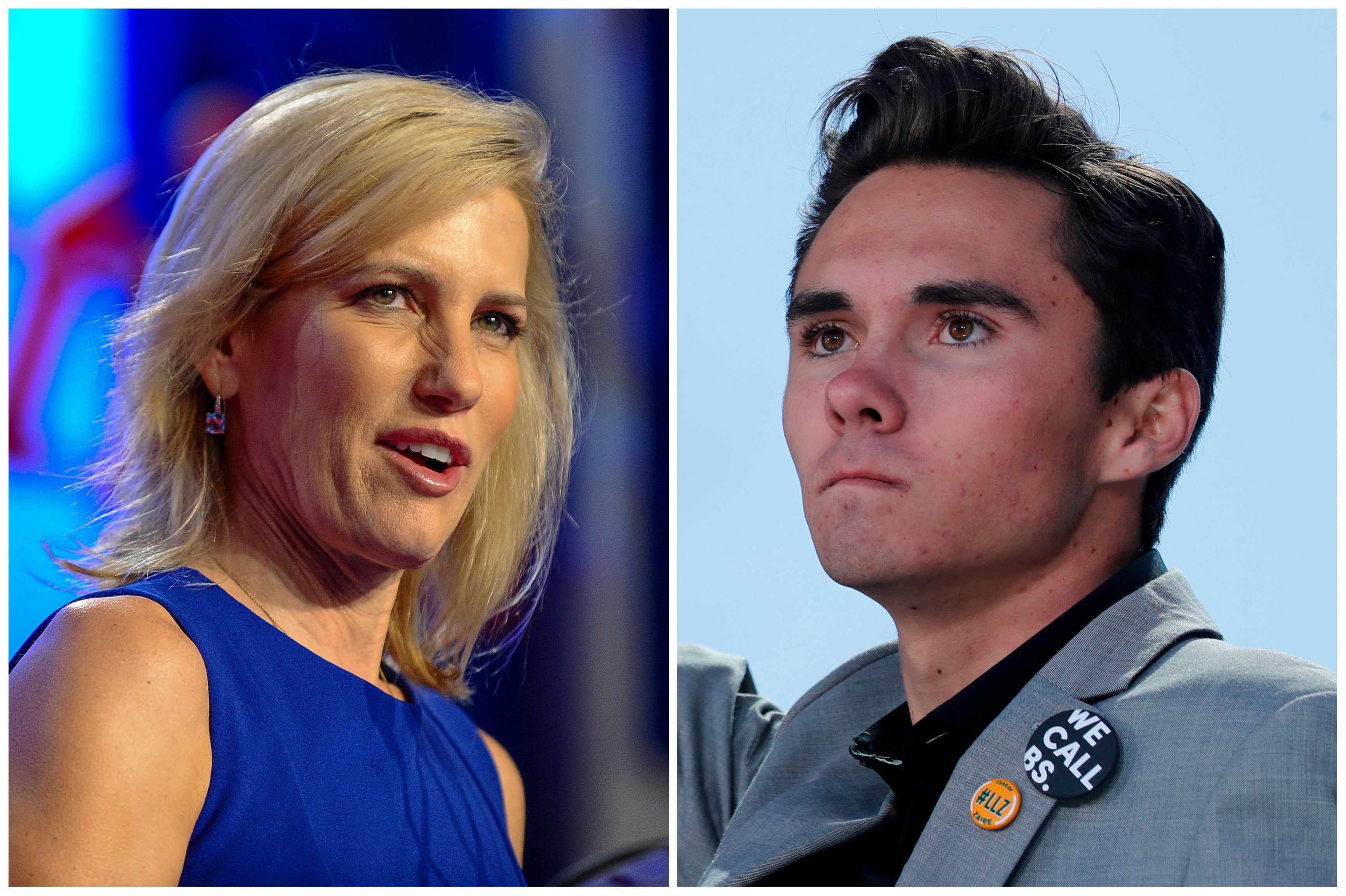 A combination of file photos show media personality Laura Ingraham in Washington October 14, 2017 and Marjory Stoneman Douglas High School student David Hogg, at a rally in Washington March 24, 2018.