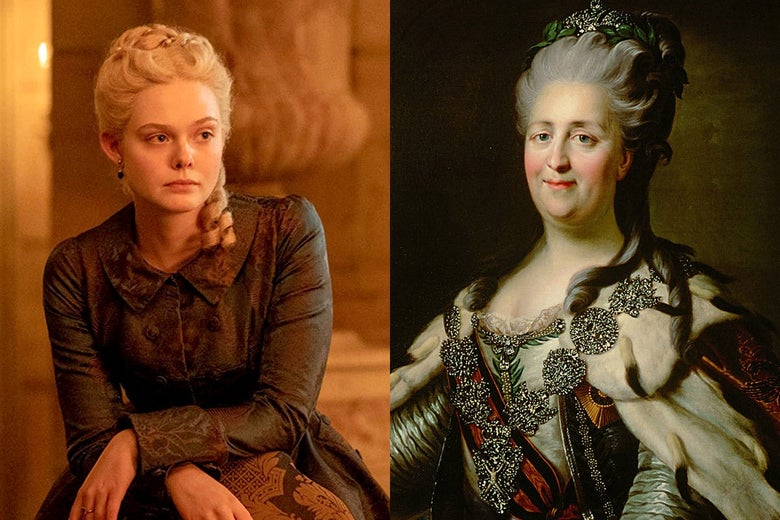 Elle Fanning as Catherine the Great in The Great, seen side by side with a portrait of the real Catherine the Great.