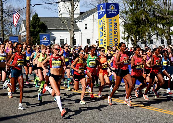 The elite women's division starts the 118th Boston Marathon on April 21, 2014, in Hopkinton, Mass.
