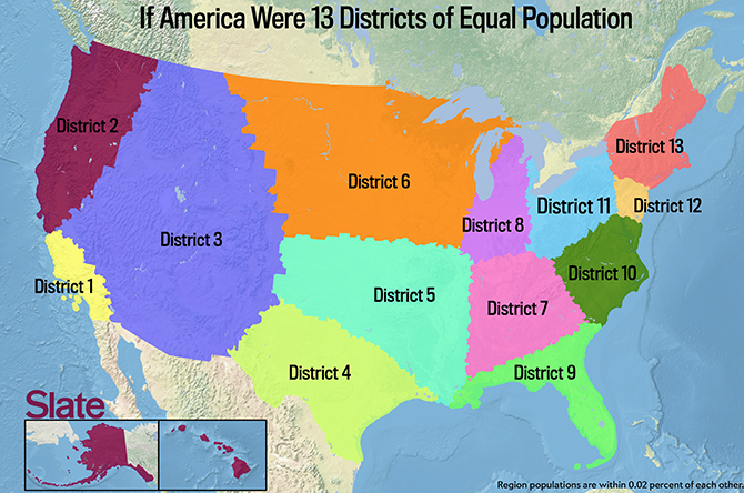 If Every Us State Had The Same Population What Would The Map Of - Us-map-state-size-by-population