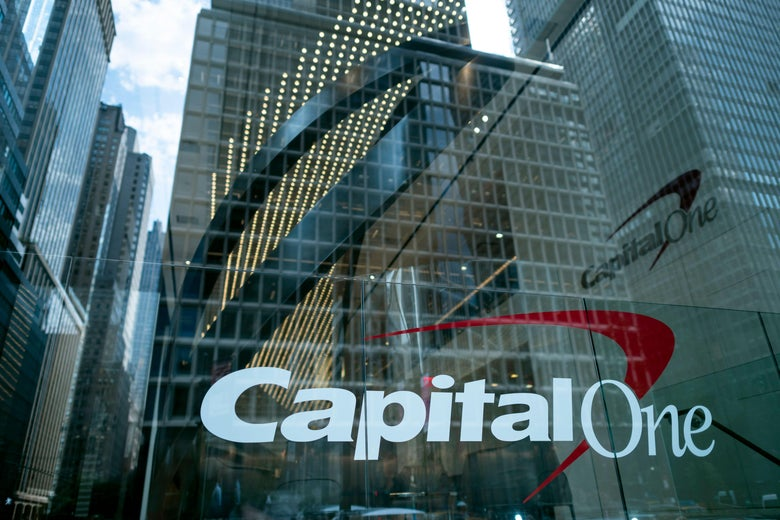 The Capital One Bank Headquarters is pictured on  July 30, 2019 in New York City. - A hacker accessed more than 100 million credit card applications with US financial heavyweight Capital One, the firm said on July 29, 2019, in one of the biggest data thefts to hit a financial services company. FBI agents arrested Paige Thompson, 33, a former Seattle technology company software engineer, after she boasted about the data theft on the information sharing site GitHub, authorities said. (Photo by Johannes EISELE / AFP)        (Photo credit should read JOHANNES EISELE/AFP/Getty Images)