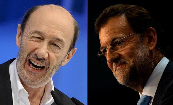Alfredo Rubalcaba and Mariano Rajoy.