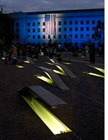 The Pentagon Memorial at night. Click image to expand.