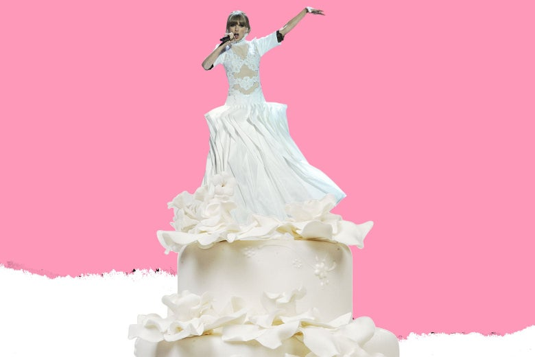 Taylor Swift, as if she's on top of a wedding cake.
