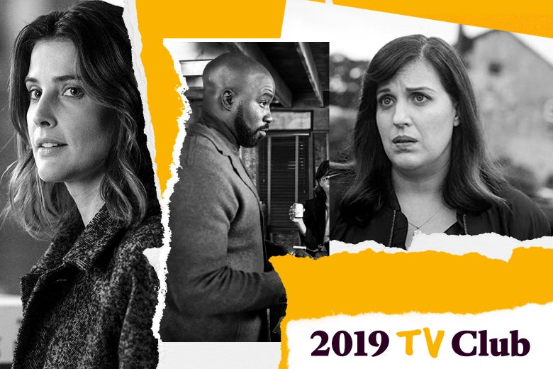 "Cobie Smulders, Mike Colter, and Allison Tolman with text that says ""2019 TV Club."""