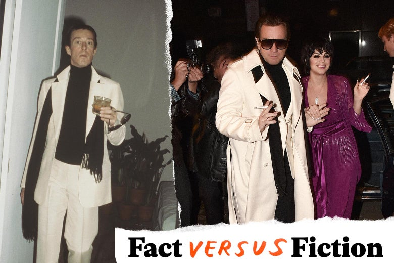 Halston in real life and in the TV show (with Liza Minnelli) in a long white suit and black turtleneck and scarf.