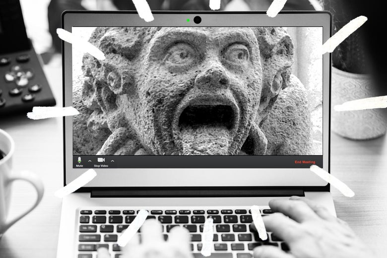 Photo illustration of two people on a Zoom video call looking like gargoyles.