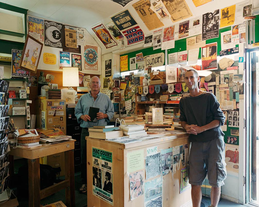 We started [Tsunami Books] with no money, literally no money: trading, dealing with people, getting things for free, sweat equity—a tremendous amount of sweat equity—and positive energy. Two people, my bookstore partner and I, thought that energy equals capital. That was our theory.–Scott Landfield, owner, Tsunami Books, Eugene, OR—with former business partner David Rhodes (right)