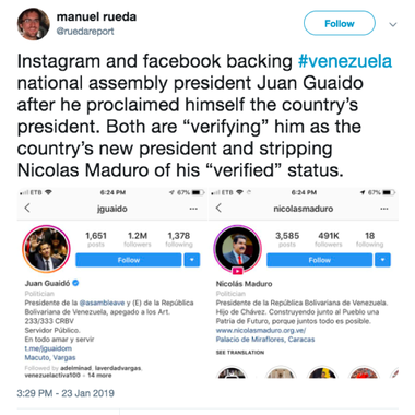 A screenshot of a tweet showing Juan Guaidó's verified Instagram apart next to Nicolás Maduro's unverified account.