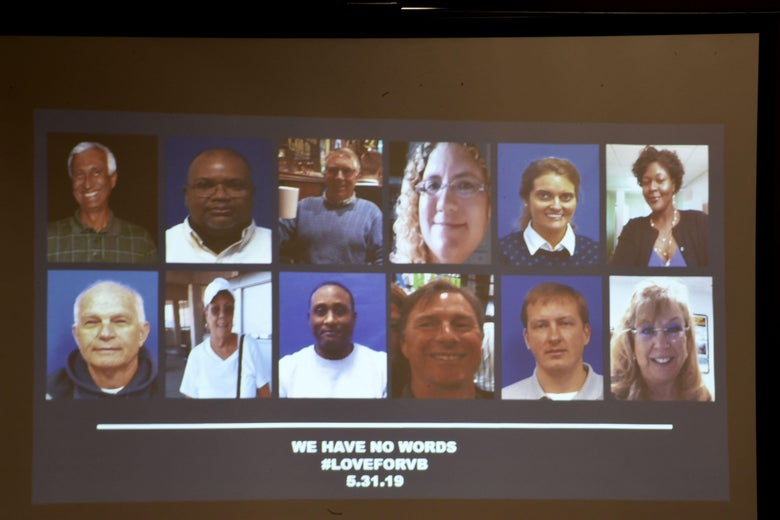 A slide of the victims in the May 31, 2019 mass shooting at a Virginia, Beach, Virginia, municipal building is shown during a press conference on June 1, 2019.
