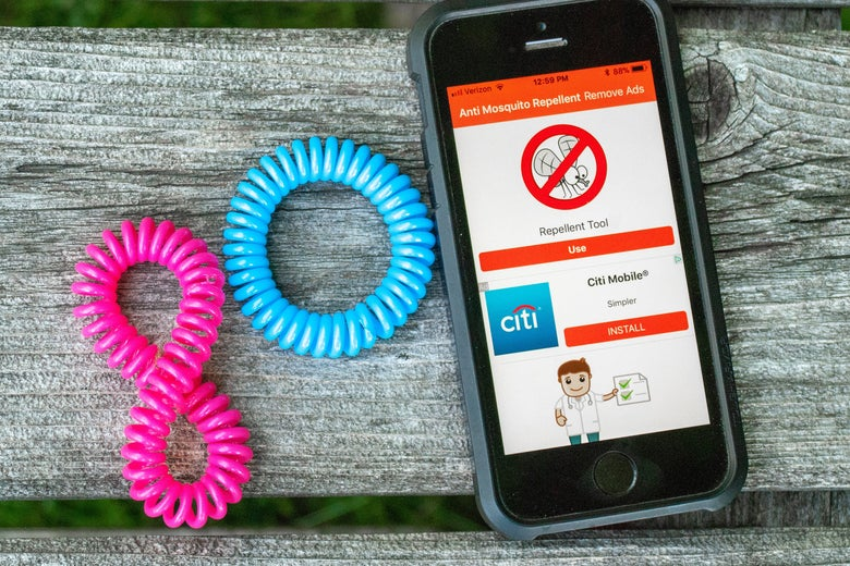 Mosquito bracelets and a smartphone displaying a sonic repeller app.