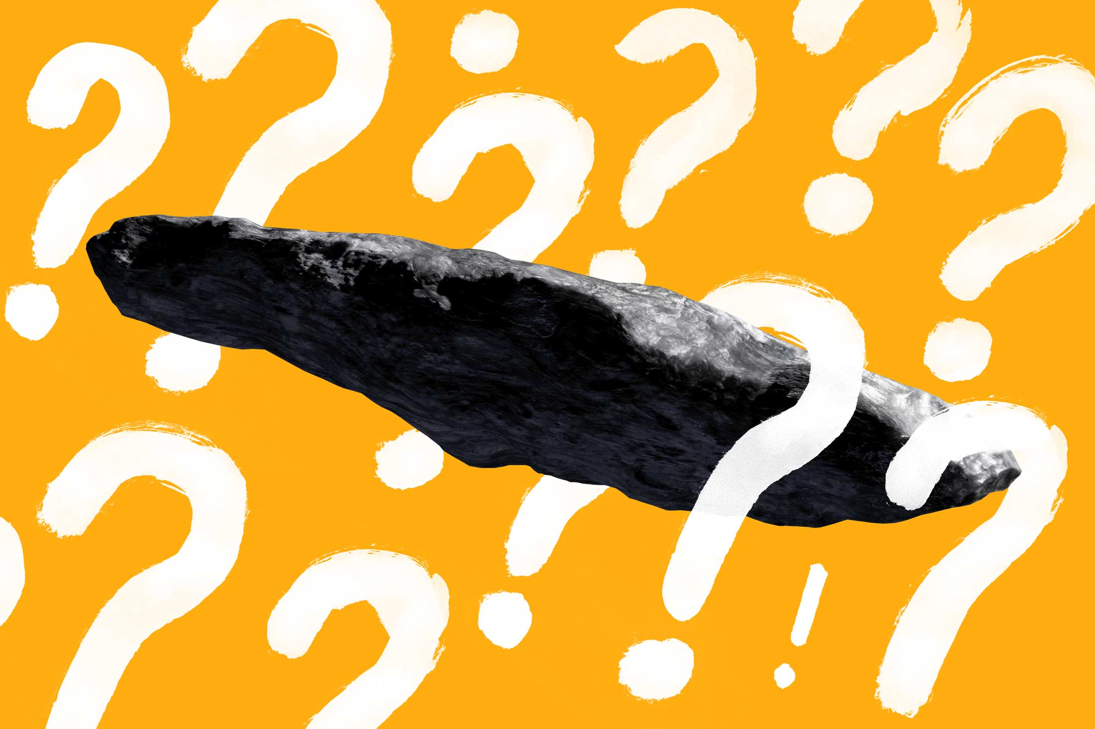 'Oumuamua (a very large, slender gray rock) surrounded by question marks and an exclamation point.