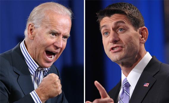 Vice President Joe Biden, left, and Paul Ryan, right